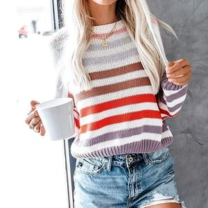 New Colorful Striped Crew neck Sweater